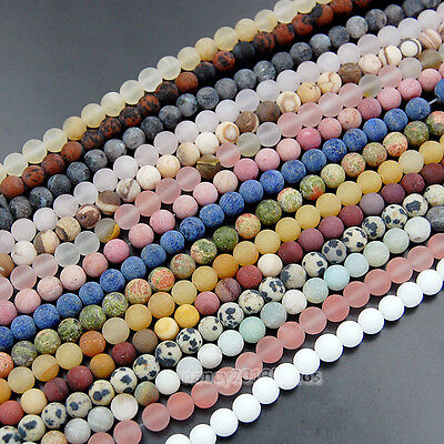 Matte 4mm 6mm 8mm 10mm 12mm Natural MultiColor Gemstone Round Spacer Beads 15.5""