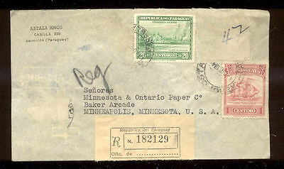 Interesting 1946 Paraguay Registered Cover to Minneapolis MN  PH586
