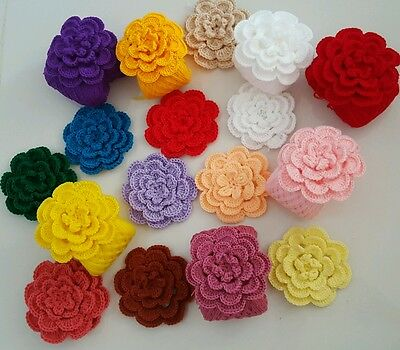 "Lot of 15 LARGE HANDMADE CROCHET FLOWERS 4"" APPLIQUES Multi-Color - 4 layer"