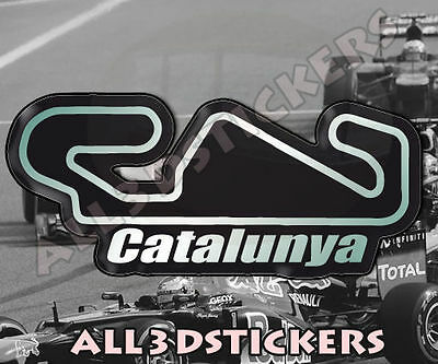"""3D Sticker Resin Domed Catalunya Circuit  13.5x6 cm (5.31x2.36 """") Adhesive Decal"""