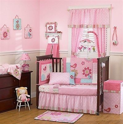 Cocalo Baby Bedding Crib Cot Bumpers Quilt Sheet Set --16 Piece Bailey Pink Bird