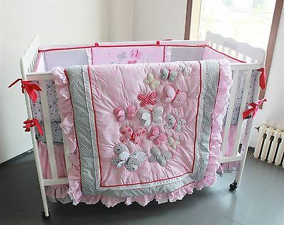 Baby Bedding Crib Cot Quilt Bumpers Sheet Sets - Pink Butterfly Brand New Design