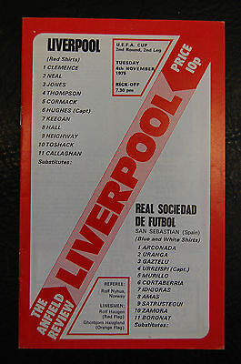 Liverpool V Real Sociedad  Uefa Cup Winners 1975/76  Official Programme