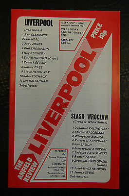 Liverpool V Slask Wroclaw  Uefa Cup Winners 1975/76  Official Programme