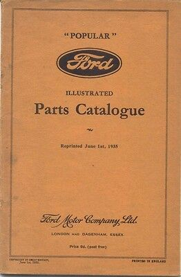 Ford 8 Eight Model Y Popular 1935 Original Illustrated Spare Parts List