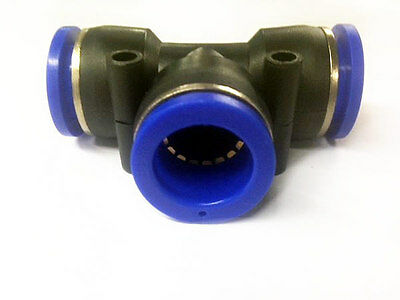 14mm T Piece Split Divider Air Pneumatic Water Hydraulic Push In Line Pipe Tube