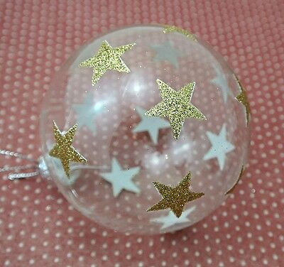 Gisela Graham Christmas Set of Two Clear Gold Glitter Star Baubles