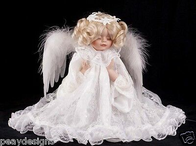 "13"" Fiber Optic Angel Praying Girl Animated Feathered Wings Arms Head  SEE VIDEO"