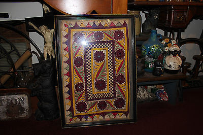 Antique Victorian Needlepoint Sampler Fabric-Unusual Shapes & Colors-Framed-#1