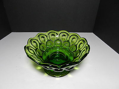 "LE Smith Moon & Stars Candle Bowl Green 6"" D 7 1/2"" top D"