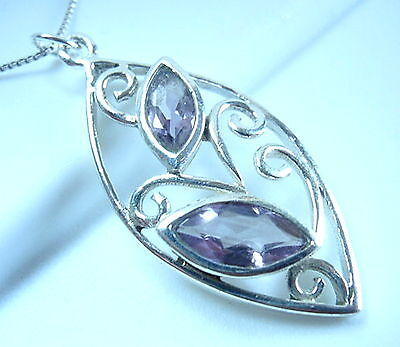 Faceted Amethyst Pendant 925 Sterling Silver Floral Style Double Gem Gemstone