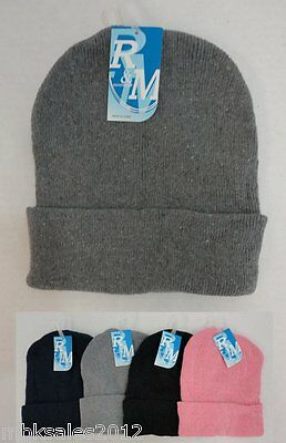 Bulk lot 24 Assorted Solid Color Winter Knit Toboggan Beanie Hats Caps 4 Colors