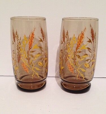 VINTAGE 1970's WHEAT ETCHING DRINKING GLASSES(TRIGUBA)