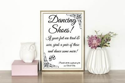 43b149738fda51 WEDDING FLIP FLOP Sore Tired Feet Sign - Dancing Shoes Personalised ...