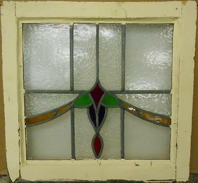 """OLD ENGLISH LEADED STAINED GLASS WINDOW Colorful Swag Design 20.25"""" x 19.5"""""""
