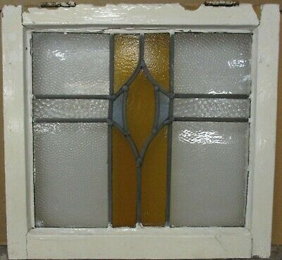 "OLD ENGLISH LEADED STAINED GLASS WINDOW Pretty Geometric Design 21"" x 19.75"""