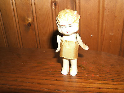 "Antique Vintage Bisque Frozen Charlotte Small Mini 3"" Baby Doll Jointed Arms"