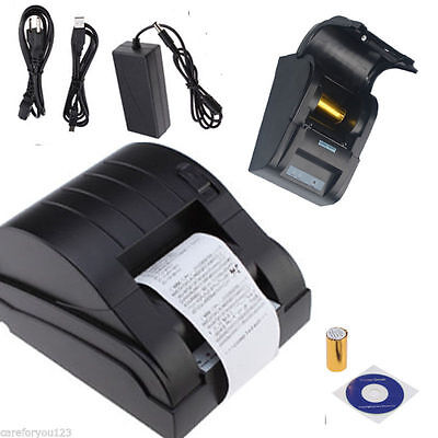 58mm USB POS Thermal Dot Receipt Printer + Electronic Cash Drawer Roll Paper BLK