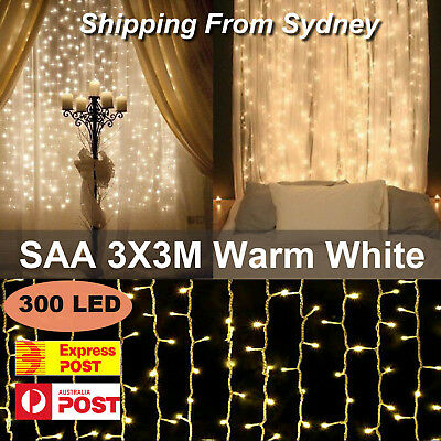 SAA 3M x 3M 300 LED Warm White Curtain Lights String Fairy Christmas Party Decor