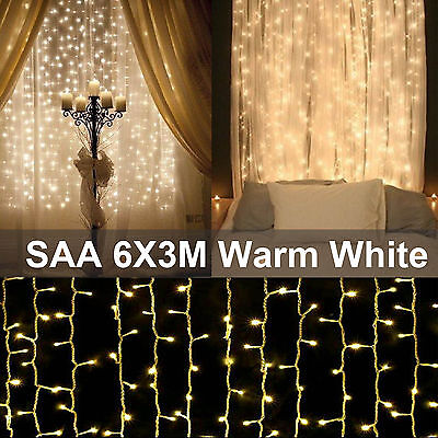 SAA 6M x 3M 600 LED Warm White Curtain Lights String Fairy Christmas Wedding D