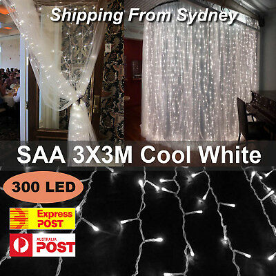 SAA 3M x 3M 300 LED Bright White Curtain Lights String Fairy Christmas Wedding