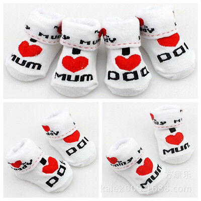 Soft Newborn Baby Toddler Lovely Boys Girl Cotton Love Mom/Dad Socks 0~6 Months