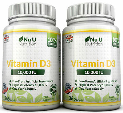Vitamin D3 10000iu High Strength 10,000iu 730 Soft gel capsule 100% Money Back