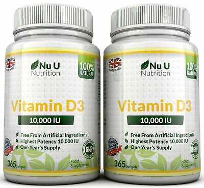 Vitamin D3 10000iu High Strength 2 Bottles 730 Soft gel capsule 100% Money Back