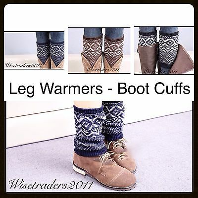 Womens Lady's Knitted Crochet Trim Boot Cuffs Toppers Leg Warmers Socks New Uk