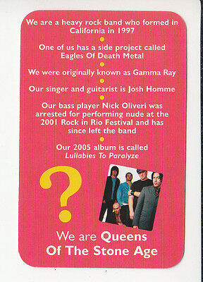 QUEENS OF THE STONE AGE Rock Band Group 2006 QUIZ GAME TRIVIA PHOTO CARD