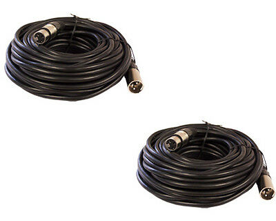 2 PACK 25ft foot 3pin XLR shielded male to female mic microphone extension cable