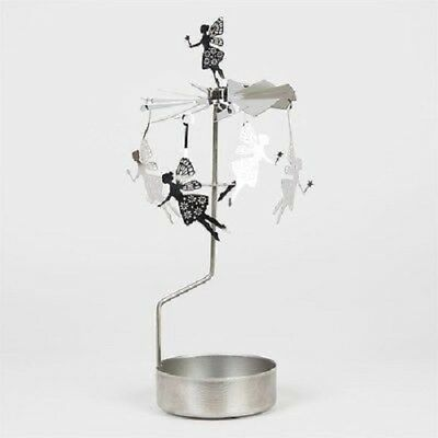 *NEW* Rotary Spinning Carousel SILVER FAIRY FAIRIES Tea Light Candle Holder