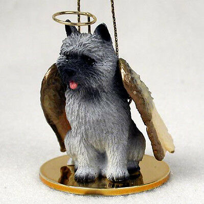 CAIRN TERRIER ANGEL DOG CHRISTMAS ORNAMENT HOLIDAY Figurine Statue Gray memorial