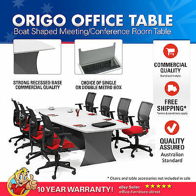 Meeting Office Table Boat Shaped, Boardroom, Conference Tables White & Ironstone