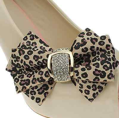 Leopard Ribbon Bow Butterfly Rhinestone Crystal High Heel Shoe Clips Pairs