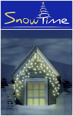 120 LED WARM WHITE Outdoor Xmas Christmas Light 8 Multi Function Snowing Icicles
