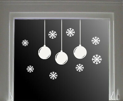 Snowflake Bauble Window/ Wall Set  Decoration Christmas Sticker / Novelty Funny