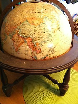 "VINTAGE 12"" Replogle World Classic Series GLOBE with wood stand RAISED RELIEF"