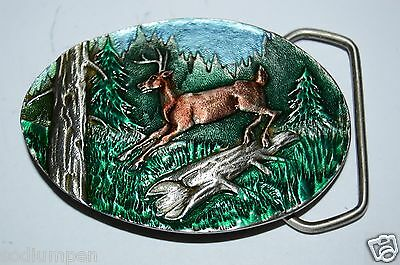 WOW MINTY Vintage 1980 Pewter Enamel Deer Buck Jumping Belt Buckle Hunters Gift