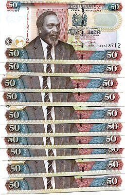 KENYA 50 SHILLINGS 2010 P-47a UNC LOT 10 PCS