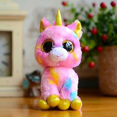 "6"" Ty Beanie Boos Dolls Pink Unicorn Solid Glitter Eyes Plush Stuffed Animals"