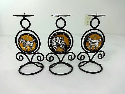 Carved Wood & Wrought Iron Zebra Candle Holder Set Of 3