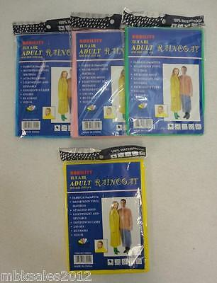 "Vinyl Rain Poncho w/ Hood & Sleeves Adult One Size Reuseable :  52"" x 80"""