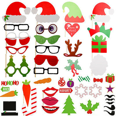50pcs Christmas Photo Booth Props Kits & Frames Xmas Party Wedding Selfie Game