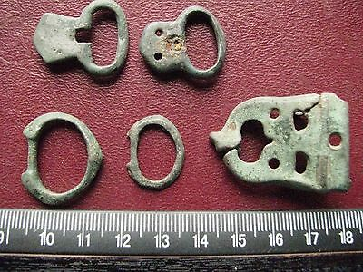 Authentic Ancient Artifact > Lot of 5 - Medieval Bronze belt buckles   13369