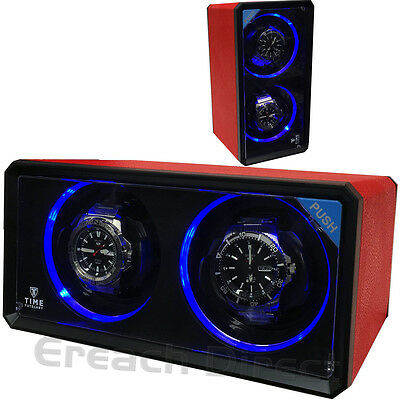 Time Tutelary Ka076 Automatic Watch Winder For Two Watches - Red Pu Leather