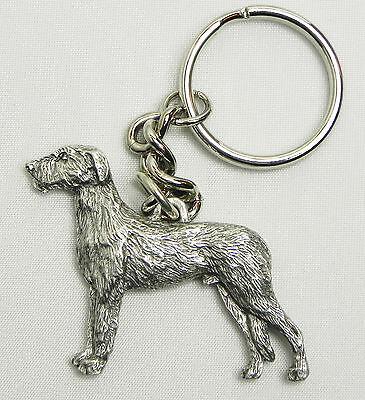 Irish Wolfhound Dog Keychain Keyring Harris Pewter Made USA Key Chain Ring