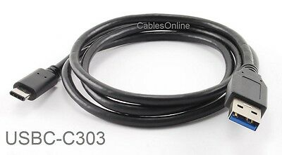 3ft USB-3.1 Type-C Male to USB-3.1 Standard-A 9-Pin Male Cable, USBC-C303