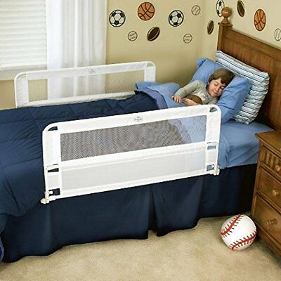 Extra Long Hide Away Safety Bed Rail Dual White Child Toddler Guest Nursery Baby