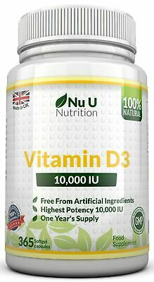 Vitamin D3 10000iu High Strength 365 Soft Gel capsules 100% Money Back Guarantee